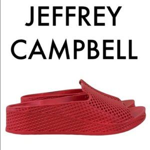 JEFFREY CAMPBELL RED MULE SANDALS SIZE 7